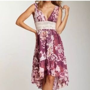 FREE PEOPLE boho high-low floral garden dress